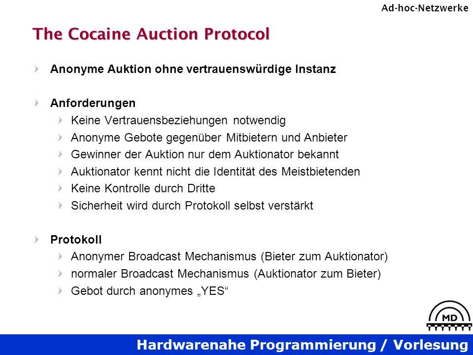 Hardwarenahe Programmierung / Vorlesung Ad-hoc-Netzwerke The Cocaine Auction Protocol Anonyme Auktion ohne vertrauenswürdige Instanz Anforderungen Kei