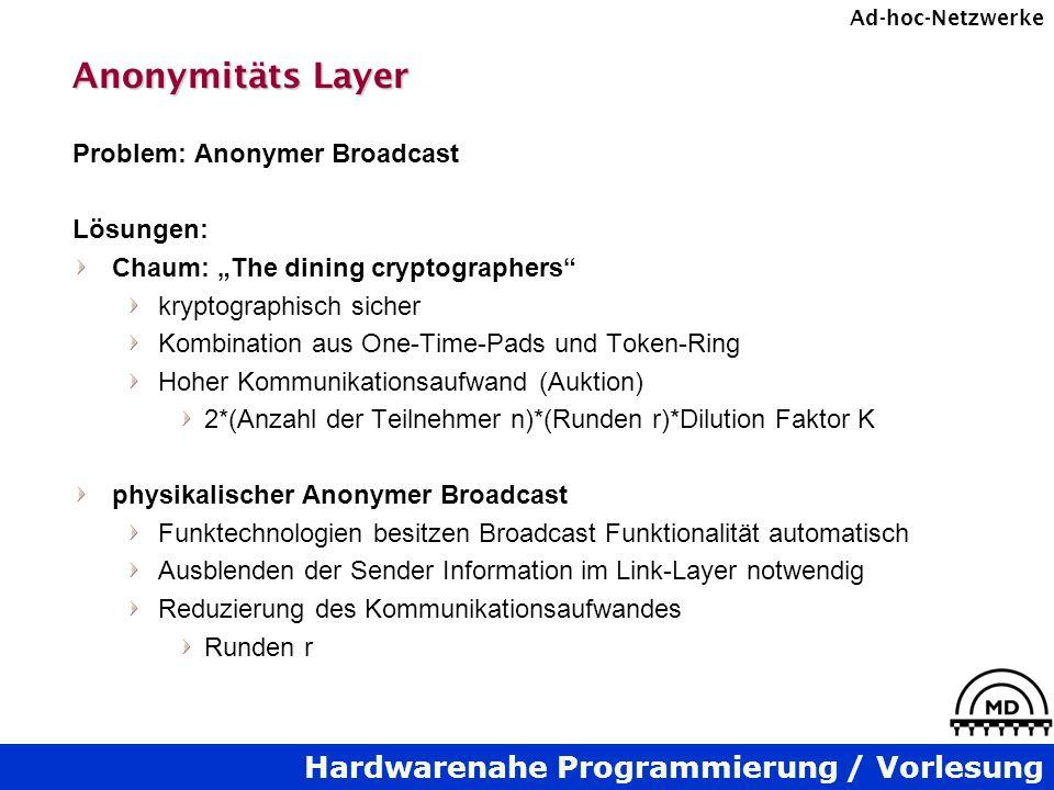 Hardwarenahe Programmierung / Vorlesung Ad-hoc-Netzwerke Anonymitäts Layer Problem: Anonymer Broadcast Lösungen: Chaum: The dining cryptographers kryp