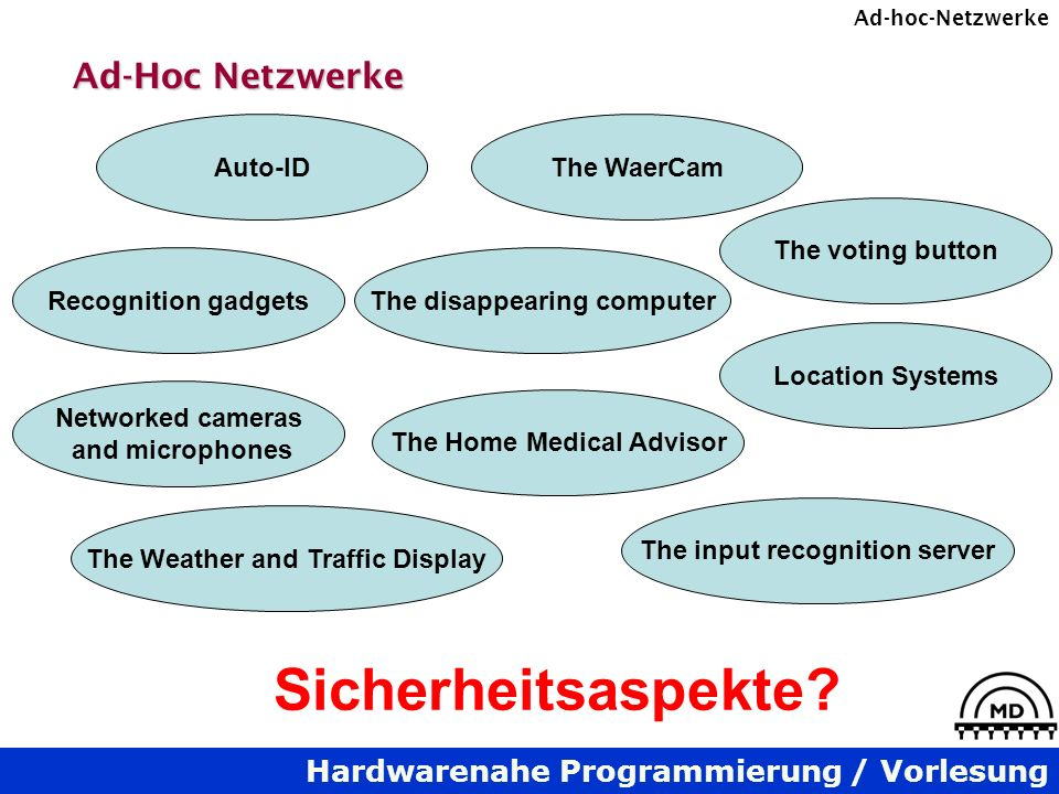 Hardwarenahe Programmierung / Vorlesung Ad-hoc-Netzwerke Ad-Hoc Netzwerke The voting button The disappearing computer The input recognition server The