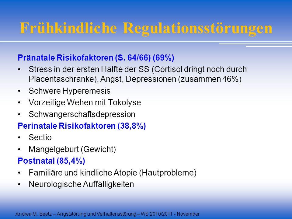 Andrea M. Beetz – Angststörung und Verhaltensstörung – WS 2010/2011 - November Frühkindliche Regulationsstörungen Pränatale Risikofaktoren (S. 64/66)