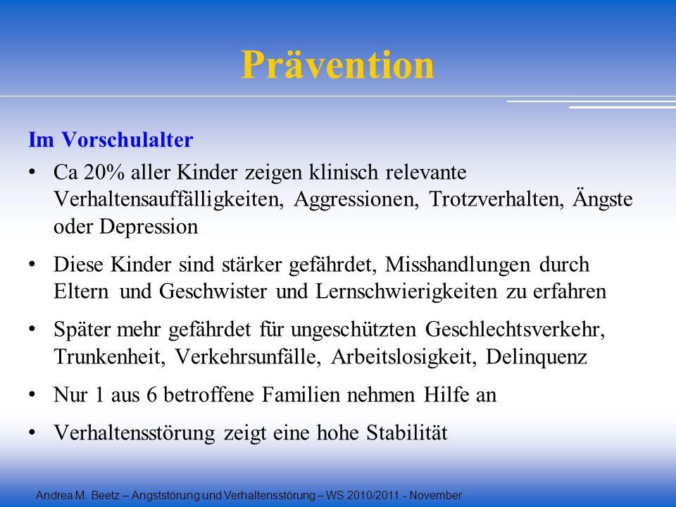 Andrea M. Beetz – Angststörung und Verhaltensstörung – WS 2010/2011 - November Prävention Im Vorschulalter Ca 20% aller Kinder zeigen klinisch relevan