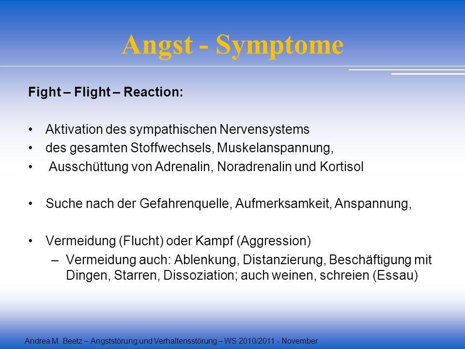 Andrea M. Beetz – Angststörung und Verhaltensstörung – WS 2010/2011 - November Angst - Symptome Fight – Flight – Reaction: Aktivation des sympathische