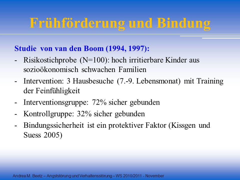 Andrea M. Beetz – Angststörung und Verhaltensstörung – WS 2010/2011 - November Frühförderung und Bindung Studie von van den Boom (1994, 1997): -Risiko