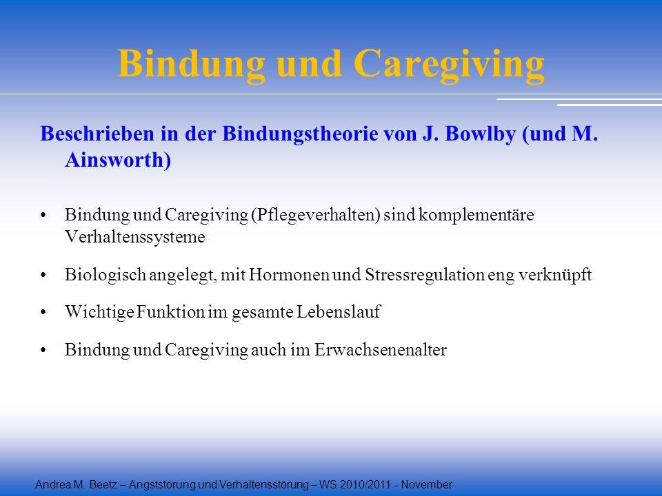 Andrea M. Beetz – Angststörung und Verhaltensstörung – WS 2010/2011 - November Bindung und Caregiving Beschrieben in der Bindungstheorie von J. Bowlby
