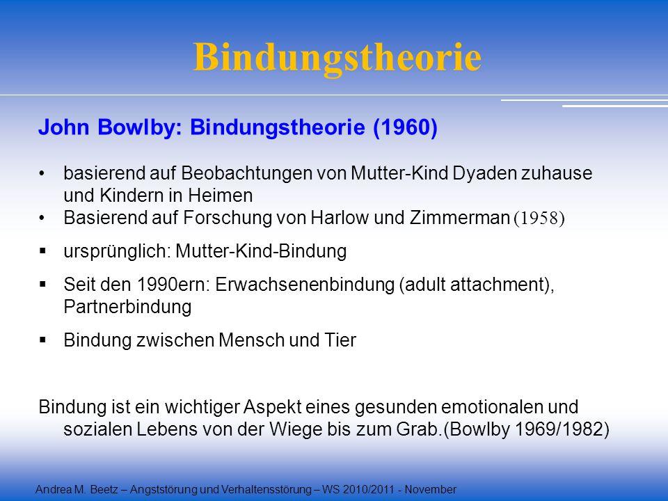 Andrea M. Beetz – Angststörung und Verhaltensstörung – WS 2010/2011 - November Bindungstheorie John Bowlby: Bindungstheorie (1960) basierend auf Beoba