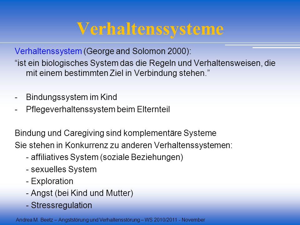 Andrea M. Beetz – Angststörung und Verhaltensstörung – WS 2010/2011 - November Verhaltenssysteme Verhaltenssystem (George and Solomon 2000): ist ein b