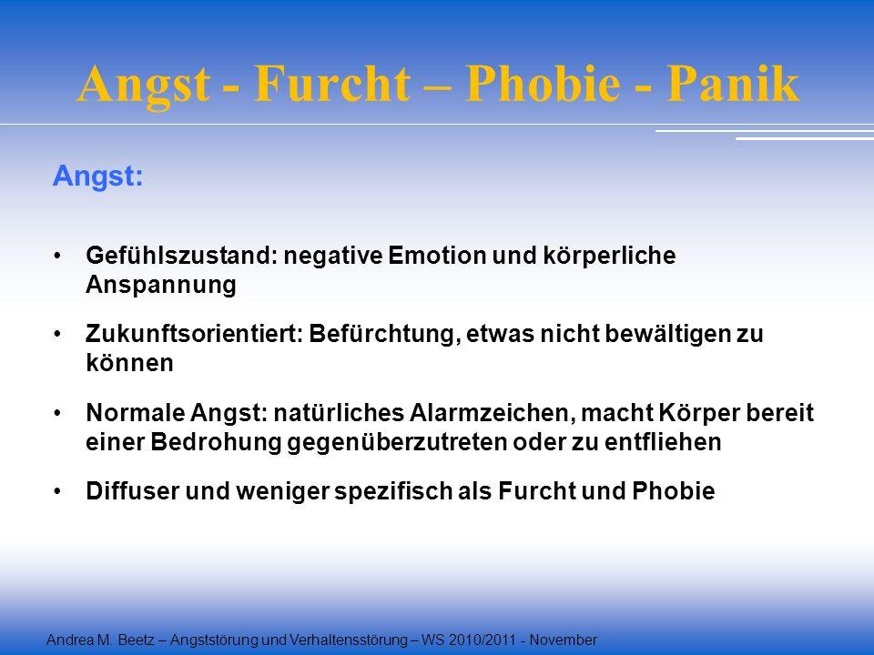 Andrea M. Beetz – Angststörung und Verhaltensstörung – WS 2010/2011 - November Angst - Furcht – Phobie - Panik Angst: Gefühlszustand: negative Emotion