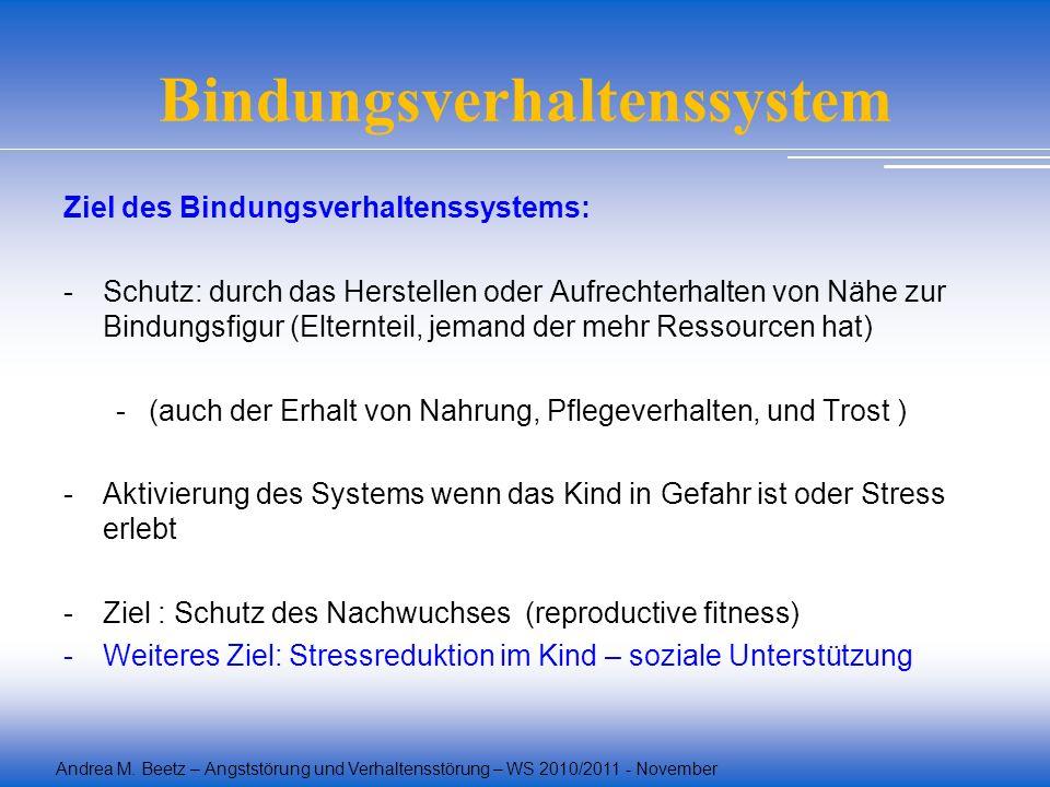 Andrea M. Beetz – Angststörung und Verhaltensstörung – WS 2010/2011 - November Bindungsverhaltenssystem Ziel des Bindungsverhaltenssystems: -Schutz: d