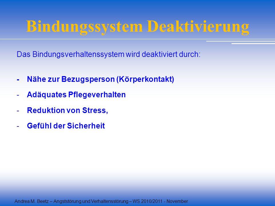 Andrea M. Beetz – Angststörung und Verhaltensstörung – WS 2010/2011 - November Bindungssystem Deaktivierung Das Bindungsverhaltenssystem wird deaktivi