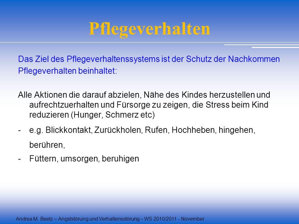 Andrea M. Beetz – Angststörung und Verhaltensstörung – WS 2010/2011 - November Pflegeverhalten Das Ziel des Pflegeverhaltenssystems ist der Schutz der