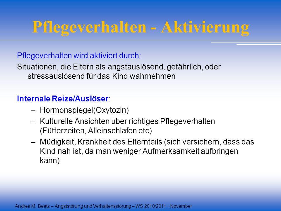 Andrea M. Beetz – Angststörung und Verhaltensstörung – WS 2010/2011 - November Pflegeverhalten - Aktivierung Pflegeverhalten wird aktiviert durch: Sit