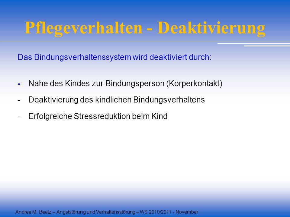 Andrea M. Beetz – Angststörung und Verhaltensstörung – WS 2010/2011 - November Pflegeverhalten - Deaktivierung Das Bindungsverhaltenssystem wird deakt