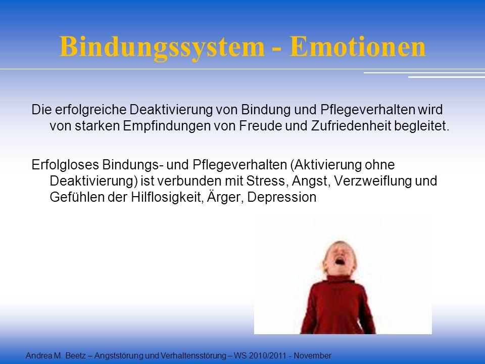 Andrea M. Beetz – Angststörung und Verhaltensstörung – WS 2010/2011 - November Bindungssystem - Emotionen Die erfolgreiche Deaktivierung von Bindung u