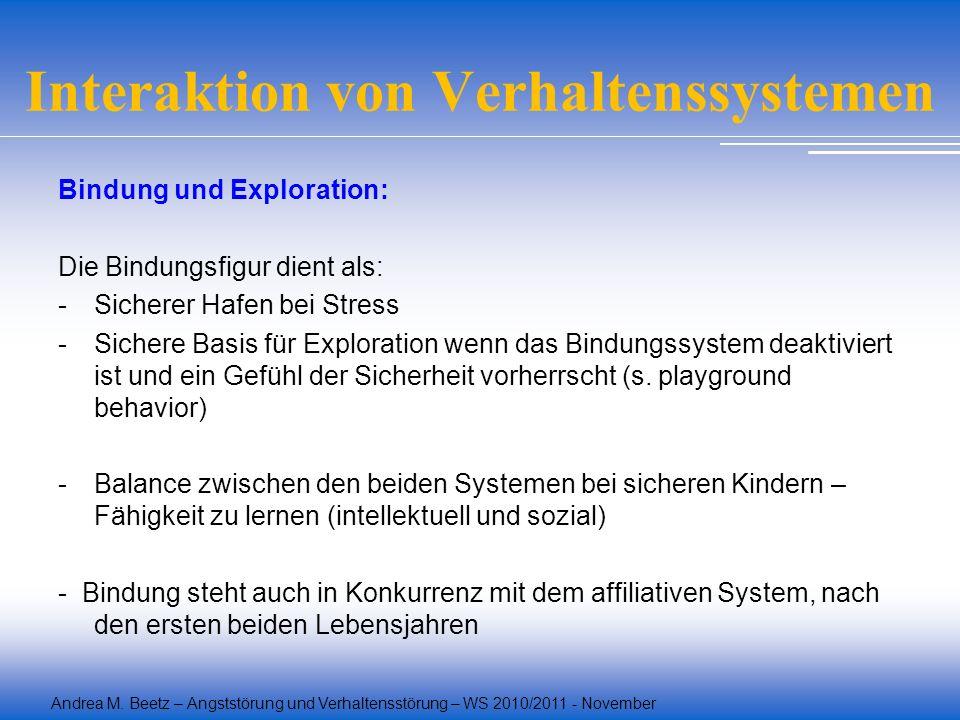 Andrea M. Beetz – Angststörung und Verhaltensstörung – WS 2010/2011 - November Interaktion von Verhaltenssystemen Bindung und Exploration: Die Bindung