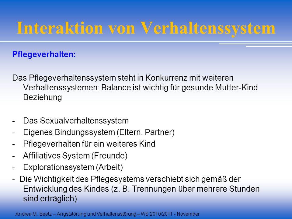Andrea M. Beetz – Angststörung und Verhaltensstörung – WS 2010/2011 - November Interaktion von Verhaltenssystem Pflegeverhalten: Das Pflegeverhaltenss