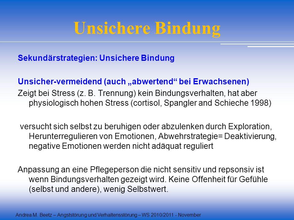 Andrea M. Beetz – Angststörung und Verhaltensstörung – WS 2010/2011 - November Unsichere Bindung Sekundärstrategien: Unsichere Bindung Unsicher-vermei