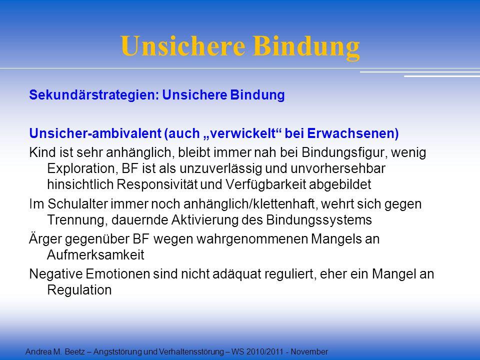 Andrea M. Beetz – Angststörung und Verhaltensstörung – WS 2010/2011 - November Unsichere Bindung Sekundärstrategien: Unsichere Bindung Unsicher-ambiva