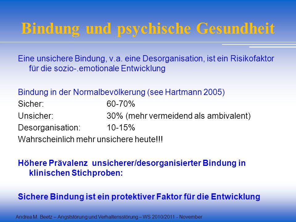 Andrea M. Beetz – Angststörung und Verhaltensstörung – WS 2010/2011 - November Bindung und psychische Gesundheit Eine unsichere Bindung, v.a. eine Des