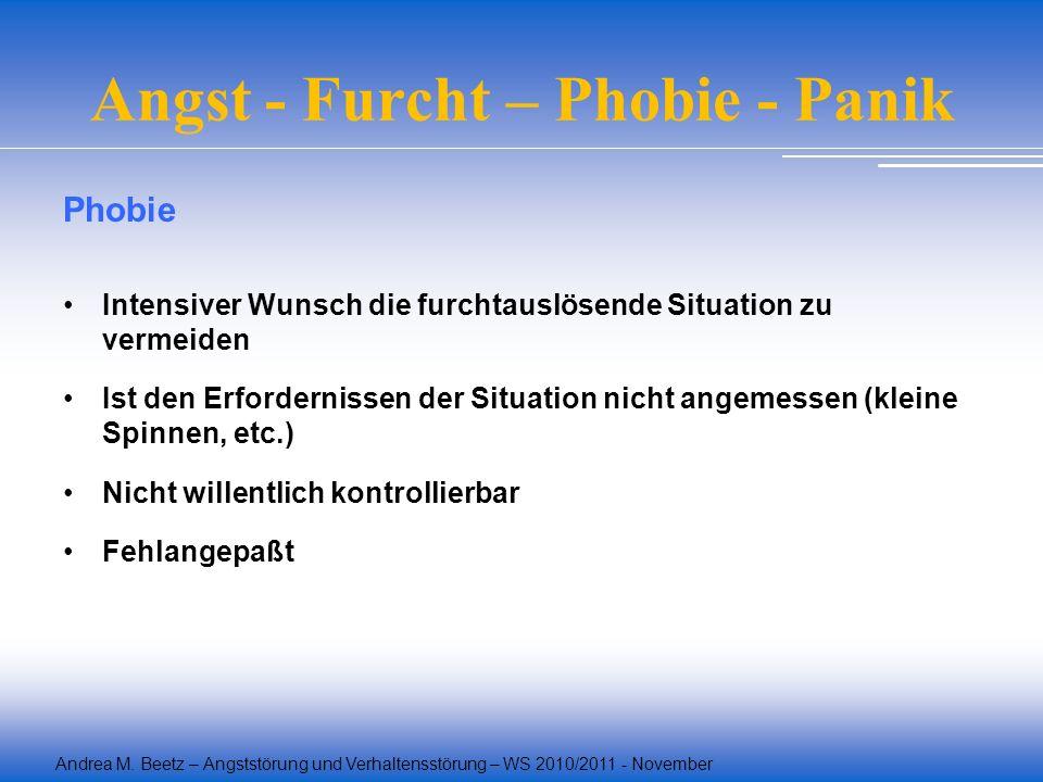 Andrea M. Beetz – Angststörung und Verhaltensstörung – WS 2010/2011 - November Angst - Furcht – Phobie - Panik Phobie Intensiver Wunsch die furchtausl
