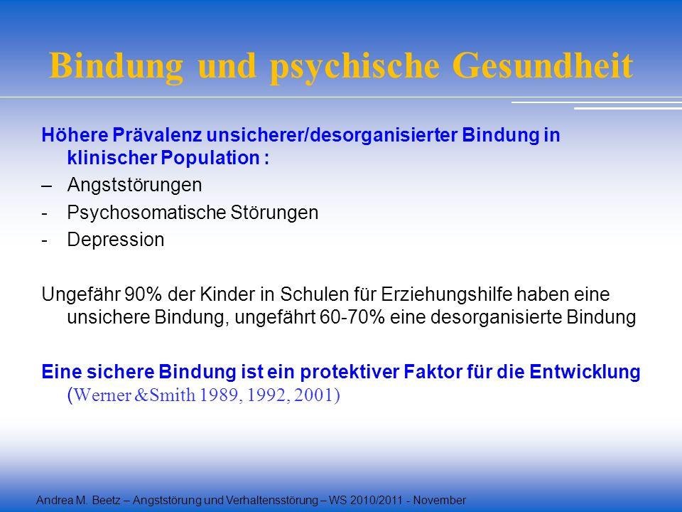 Andrea M. Beetz – Angststörung und Verhaltensstörung – WS 2010/2011 - November Bindung und psychische Gesundheit Höhere Prävalenz unsicherer/desorgani