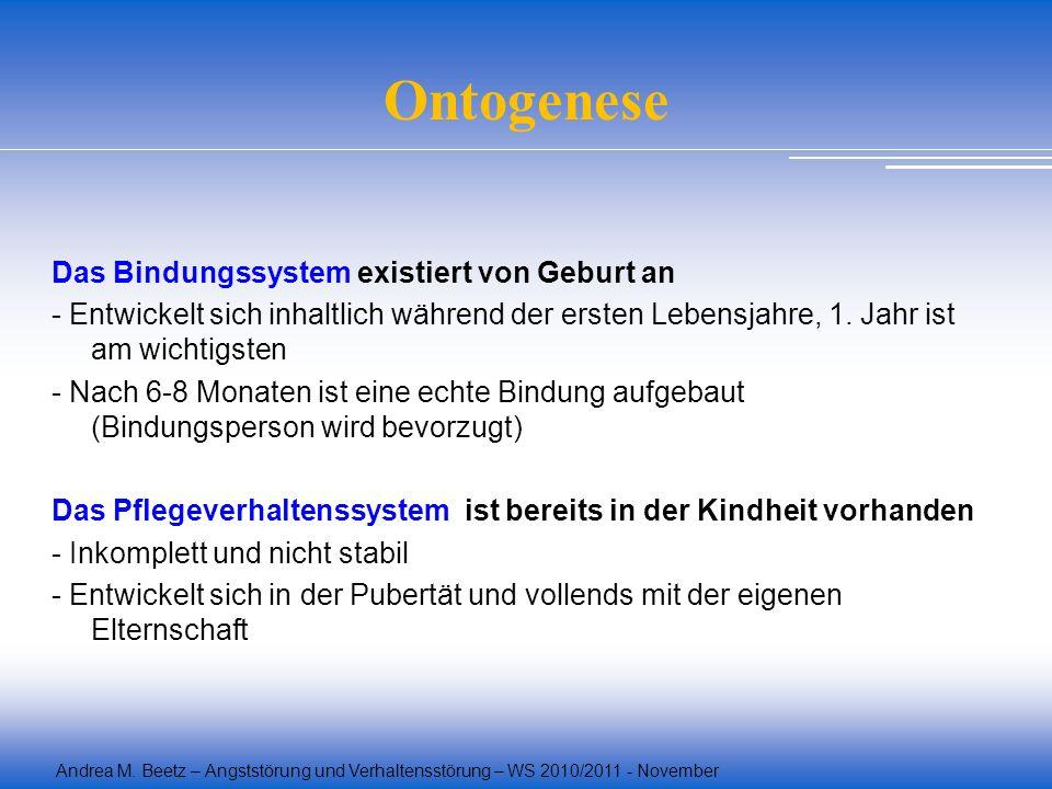 Andrea M. Beetz – Angststörung und Verhaltensstörung – WS 2010/2011 - November Ontogenese Das Bindungssystem existiert von Geburt an - Entwickelt sich