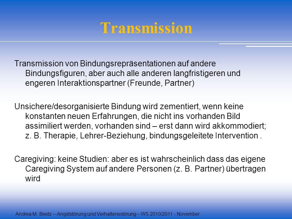 Andrea M. Beetz – Angststörung und Verhaltensstörung – WS 2010/2011 - November Transmission Transmission von Bindungsrepräsentationen auf andere Bindu