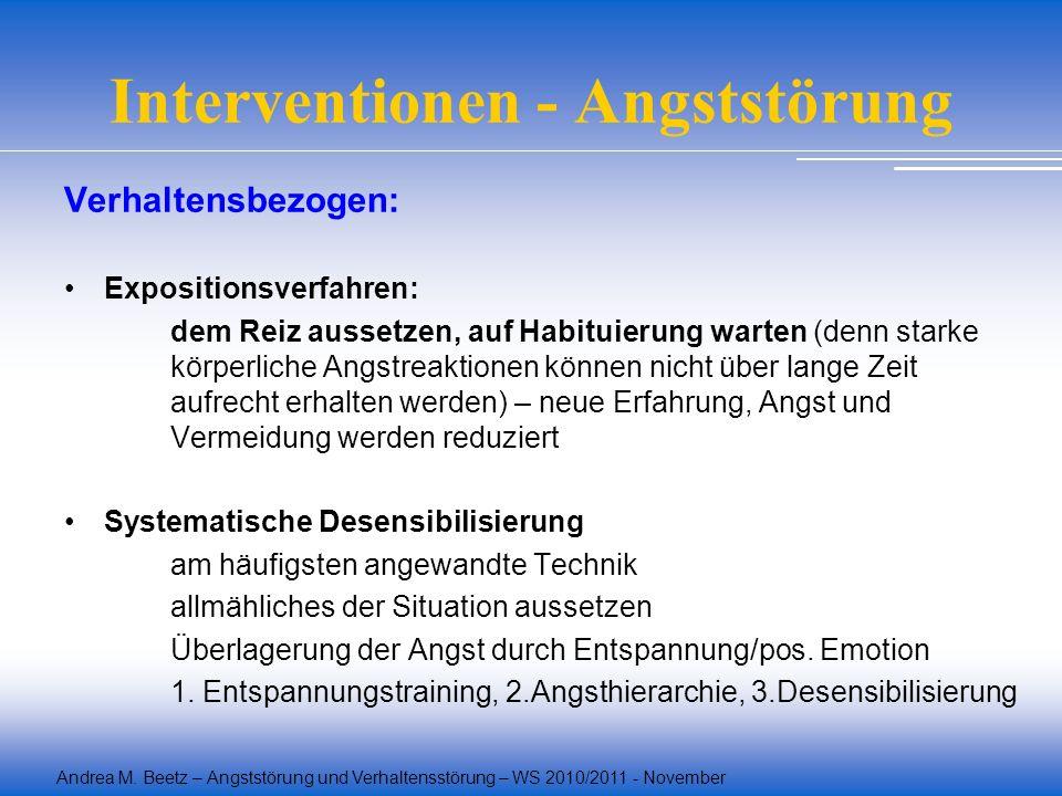 Andrea M. Beetz – Angststörung und Verhaltensstörung – WS 2010/2011 - November Interventionen - Angststörung Verhaltensbezogen: Expositionsverfahren: