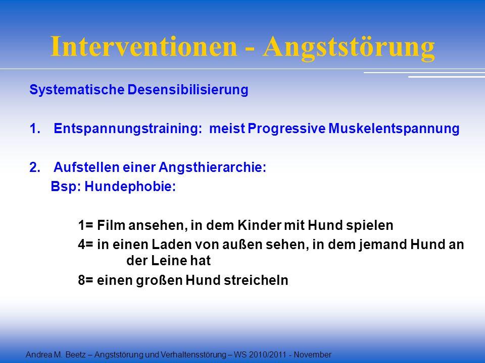 Andrea M. Beetz – Angststörung und Verhaltensstörung – WS 2010/2011 - November Interventionen - Angststörung Systematische Desensibilisierung 1.Entspa
