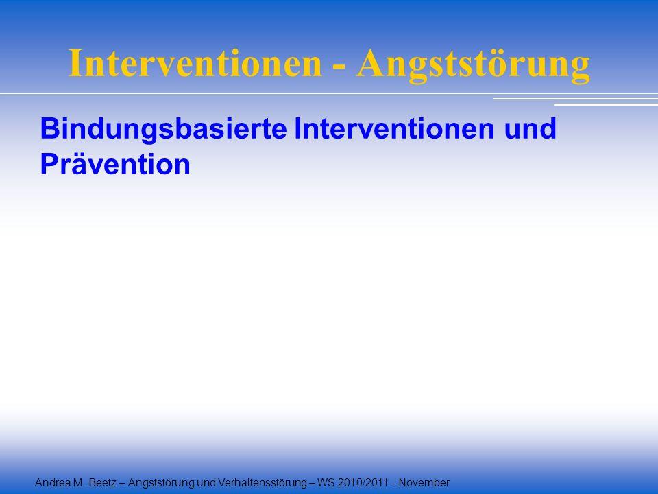 Andrea M. Beetz – Angststörung und Verhaltensstörung – WS 2010/2011 - November Interventionen - Angststörung Bindungsbasierte Interventionen und Präve