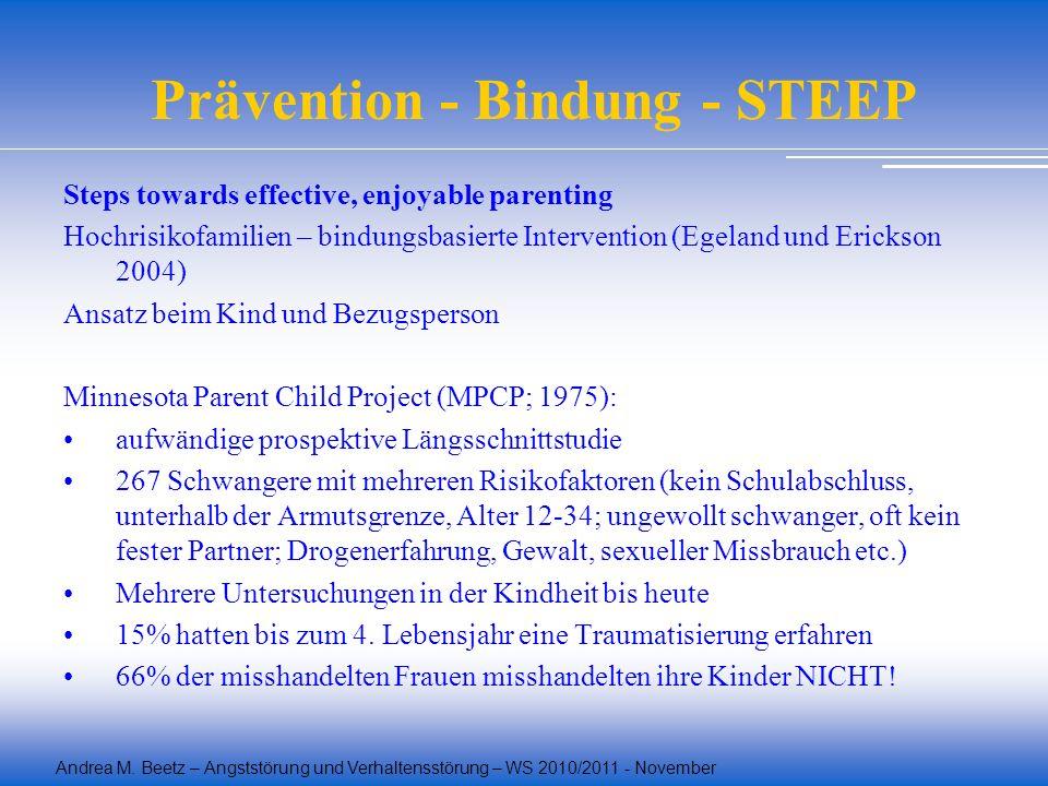Andrea M. Beetz – Angststörung und Verhaltensstörung – WS 2010/2011 - November Prävention - Bindung - STEEP Steps towards effective, enjoyable parenti