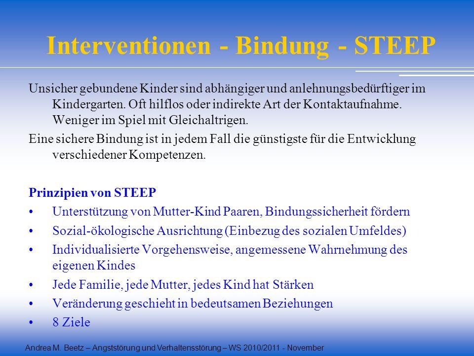 Andrea M. Beetz – Angststörung und Verhaltensstörung – WS 2010/2011 - November Interventionen - Bindung - STEEP Unsicher gebundene Kinder sind abhängi