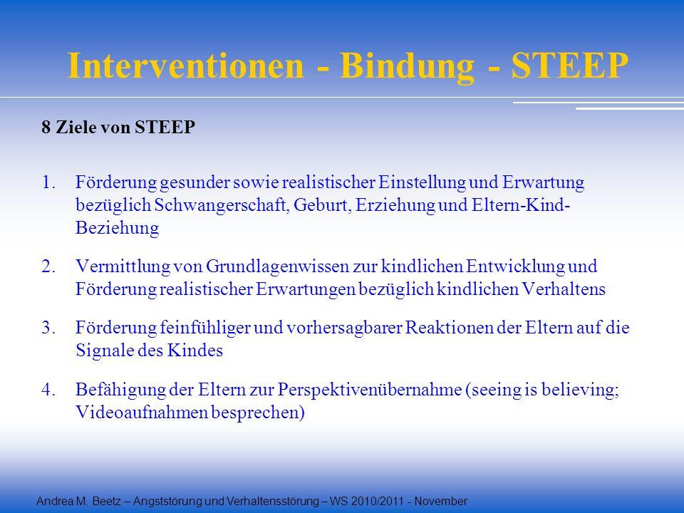 Andrea M. Beetz – Angststörung und Verhaltensstörung – WS 2010/2011 - November Interventionen - Bindung - STEEP 8 Ziele von STEEP 1.Förderung gesunder