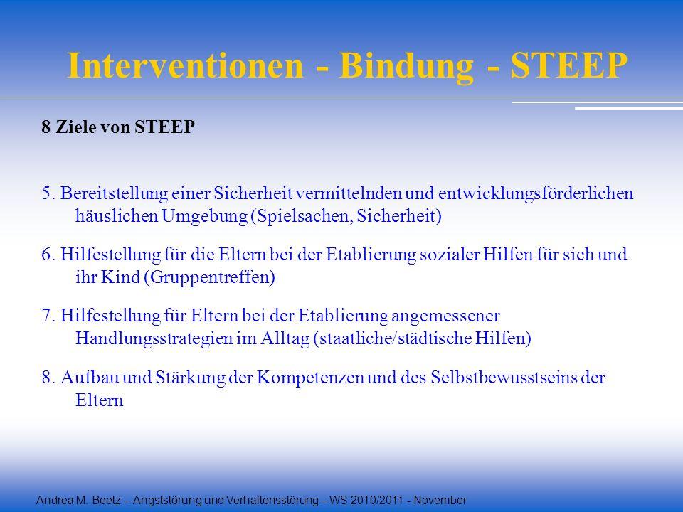 Andrea M. Beetz – Angststörung und Verhaltensstörung – WS 2010/2011 - November Interventionen - Bindung - STEEP 8 Ziele von STEEP 5. Bereitstellung ei