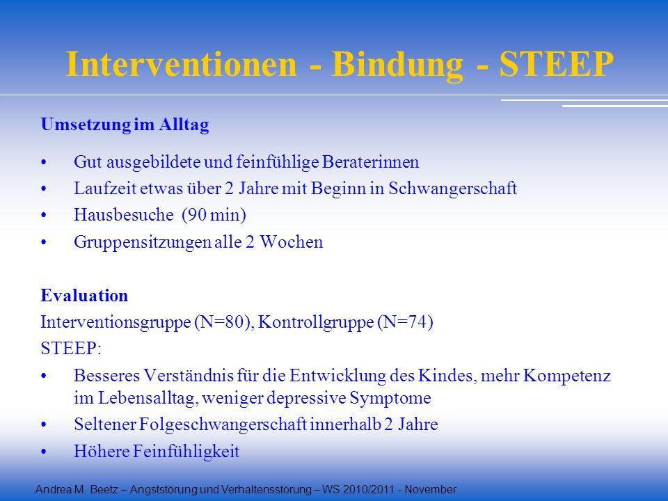 Andrea M. Beetz – Angststörung und Verhaltensstörung – WS 2010/2011 - November Interventionen - Bindung - STEEP Umsetzung im Alltag Gut ausgebildete u