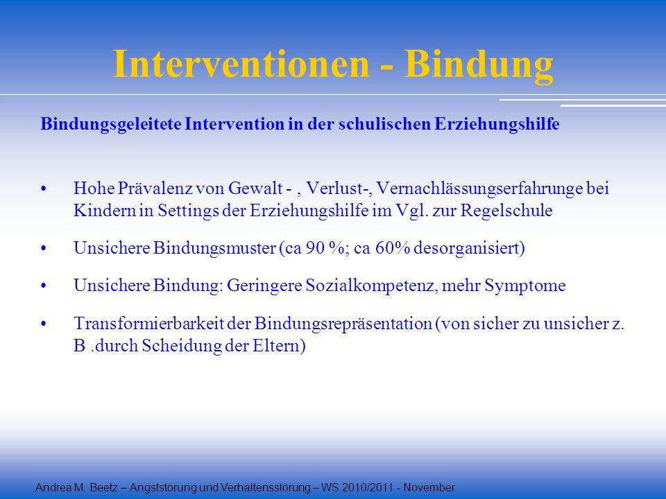 Andrea M. Beetz – Angststörung und Verhaltensstörung – WS 2010/2011 - November Interventionen - Bindung Bindungsgeleitete Intervention in der schulisc
