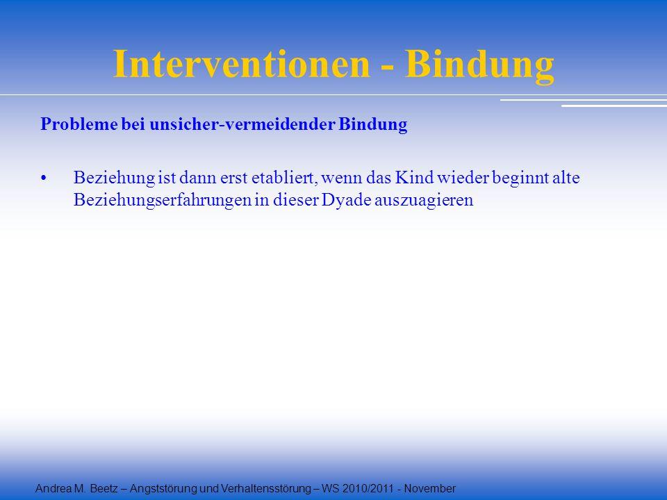 Andrea M. Beetz – Angststörung und Verhaltensstörung – WS 2010/2011 - November Interventionen - Bindung Probleme bei unsicher-vermeidender Bindung Bez