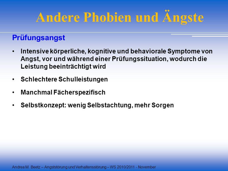 Andrea M. Beetz – Angststörung und Verhaltensstörung – WS 2010/2011 - November Andere Phobien und Ängste Prüfungsangst Intensive körperliche, kognitiv