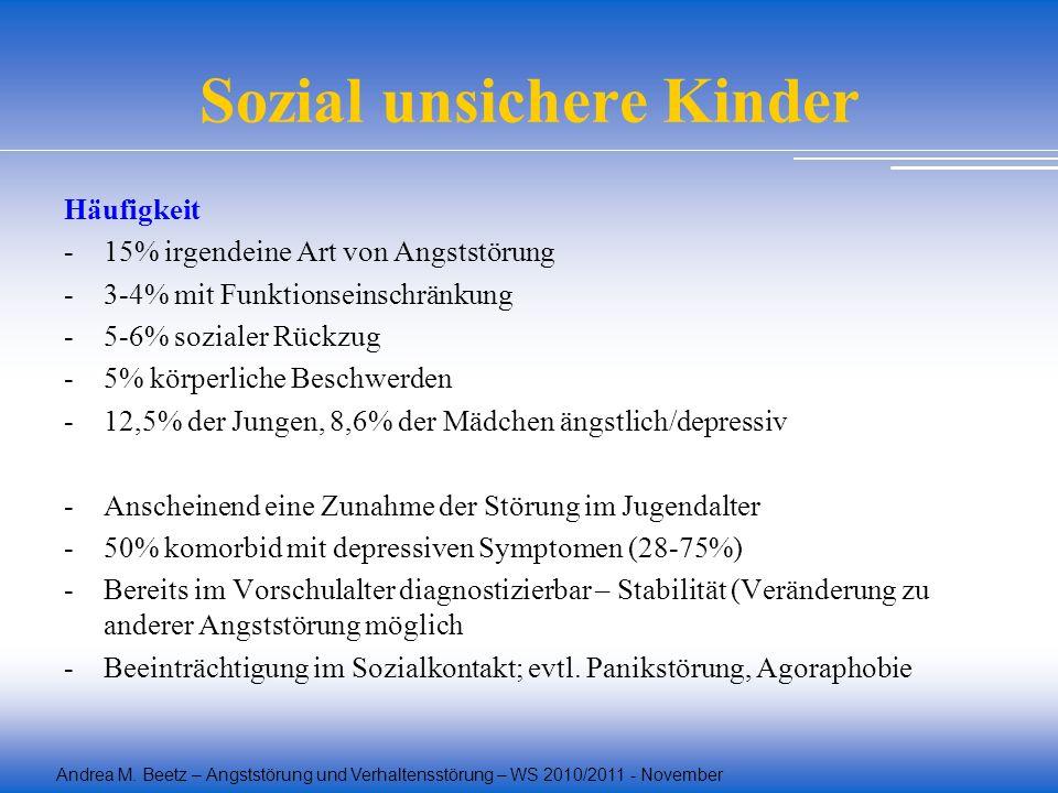 Andrea M. Beetz – Angststörung und Verhaltensstörung – WS 2010/2011 - November Sozial unsichere Kinder Häufigkeit -15% irgendeine Art von Angststörung
