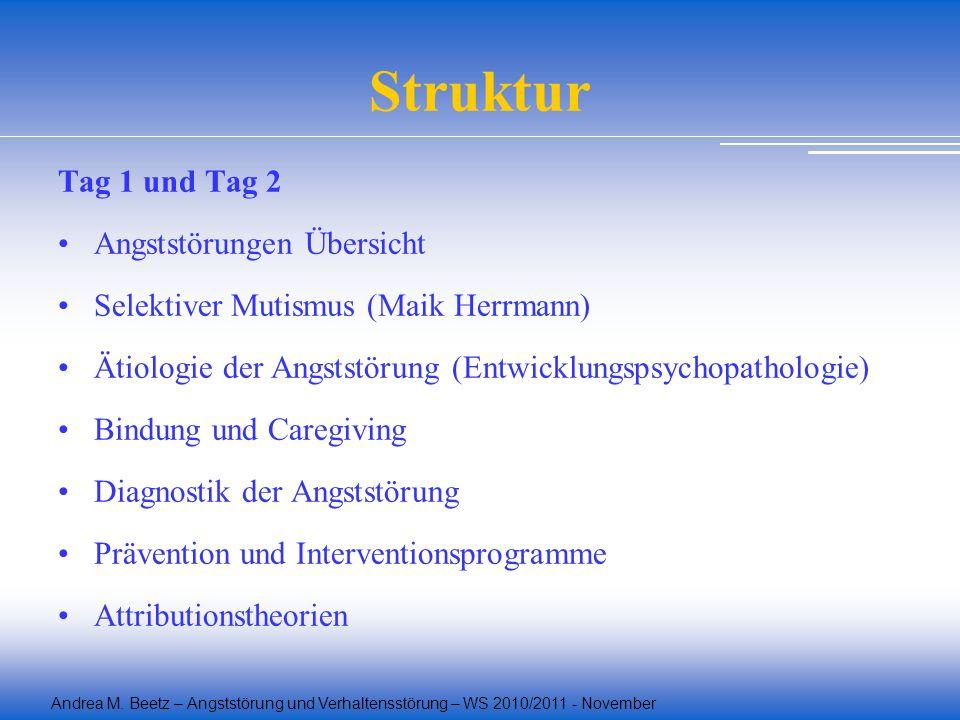 Andrea M. Beetz – Angststörung und Verhaltensstörung – WS 2010/2011 - November Struktur Tag 1 und Tag 2 Angststörungen Übersicht Selektiver Mutismus (