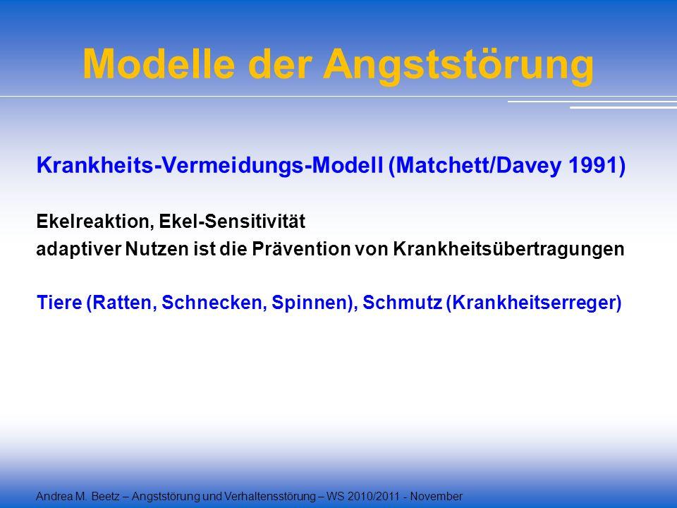 Andrea M. Beetz – Angststörung und Verhaltensstörung – WS 2010/2011 - November Modelle der Angststörung Krankheits-Vermeidungs-Modell (Matchett/Davey