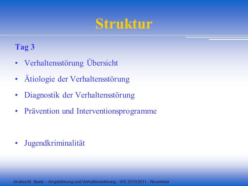 Andrea M. Beetz – Angststörung und Verhaltensstörung – WS 2010/2011 - November Struktur Tag 3 Verhaltensstörung Übersicht Ätiologie der Verhaltensstör