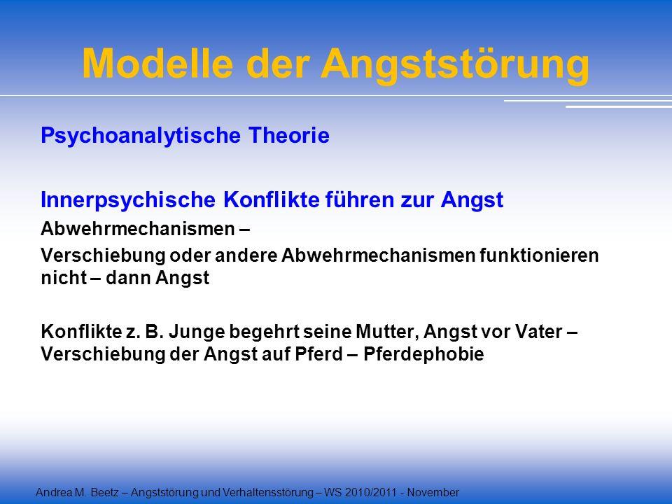 Andrea M. Beetz – Angststörung und Verhaltensstörung – WS 2010/2011 - November Modelle der Angststörung Psychoanalytische Theorie Innerpsychische Konf