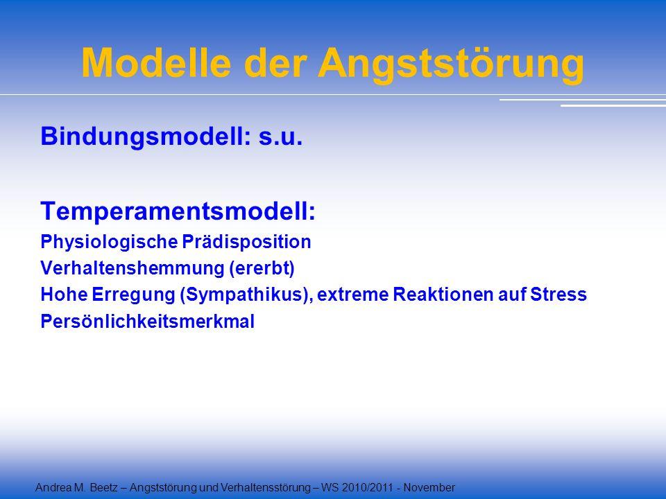 Andrea M. Beetz – Angststörung und Verhaltensstörung – WS 2010/2011 - November Modelle der Angststörung Bindungsmodell: s.u. Temperamentsmodell: Physi
