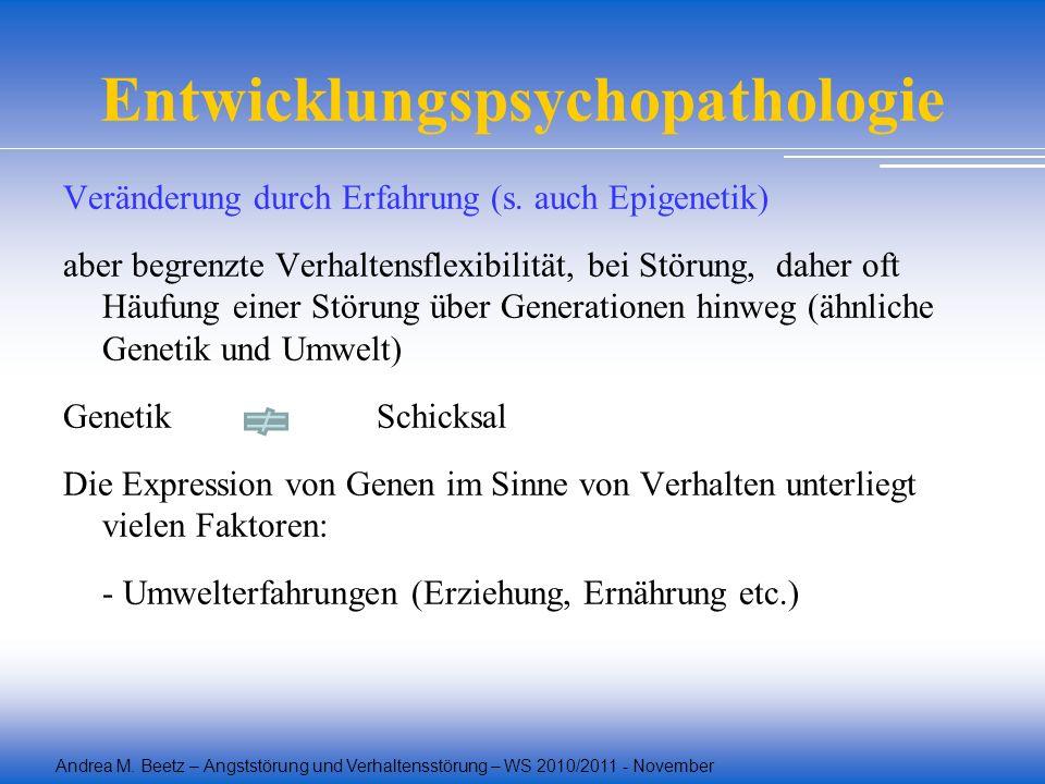Andrea M. Beetz – Angststörung und Verhaltensstörung – WS 2010/2011 - November Entwicklungspsychopathologie Veränderung durch Erfahrung (s. auch Epige