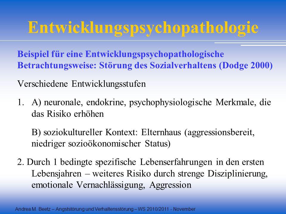 Andrea M. Beetz – Angststörung und Verhaltensstörung – WS 2010/2011 - November Entwicklungspsychopathologie Beispiel für eine Entwicklungspsychopathol
