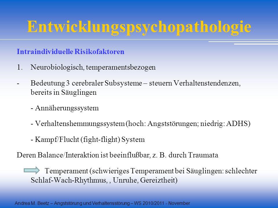 Andrea M. Beetz – Angststörung und Verhaltensstörung – WS 2010/2011 - November Entwicklungspsychopathologie Intraindividuelle Risikofaktoren 1.Neurobi