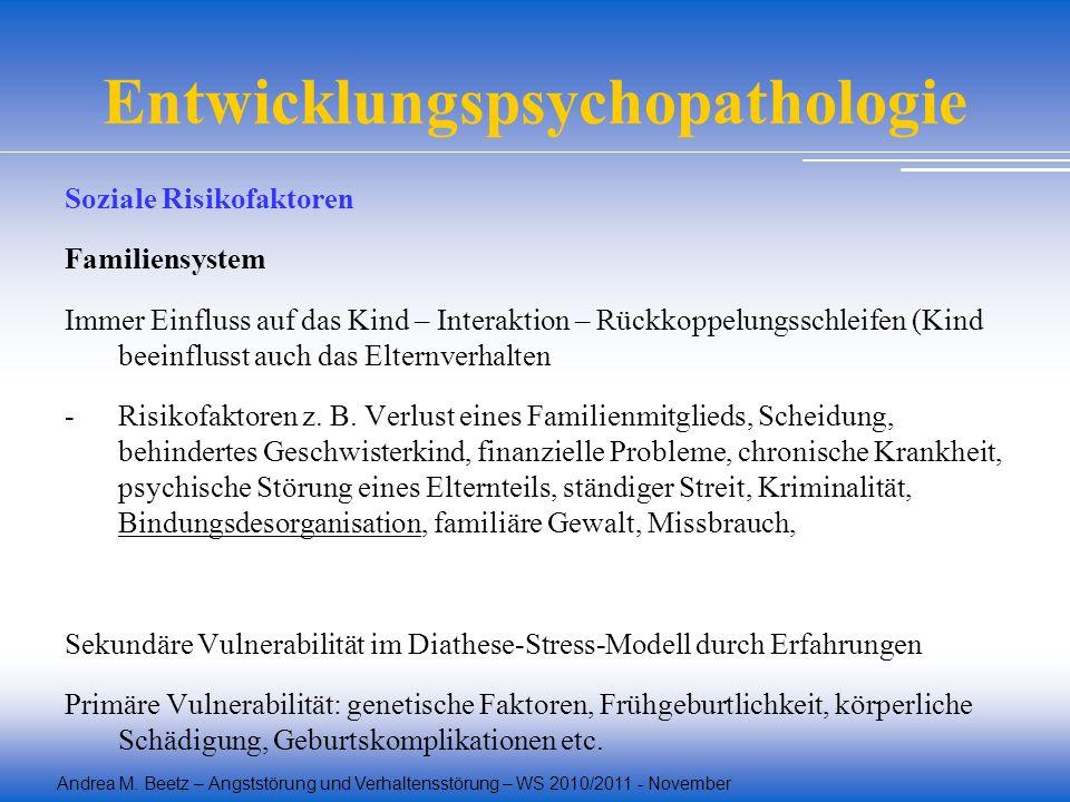 Andrea M. Beetz – Angststörung und Verhaltensstörung – WS 2010/2011 - November Entwicklungspsychopathologie Soziale Risikofaktoren Familiensystem Imme