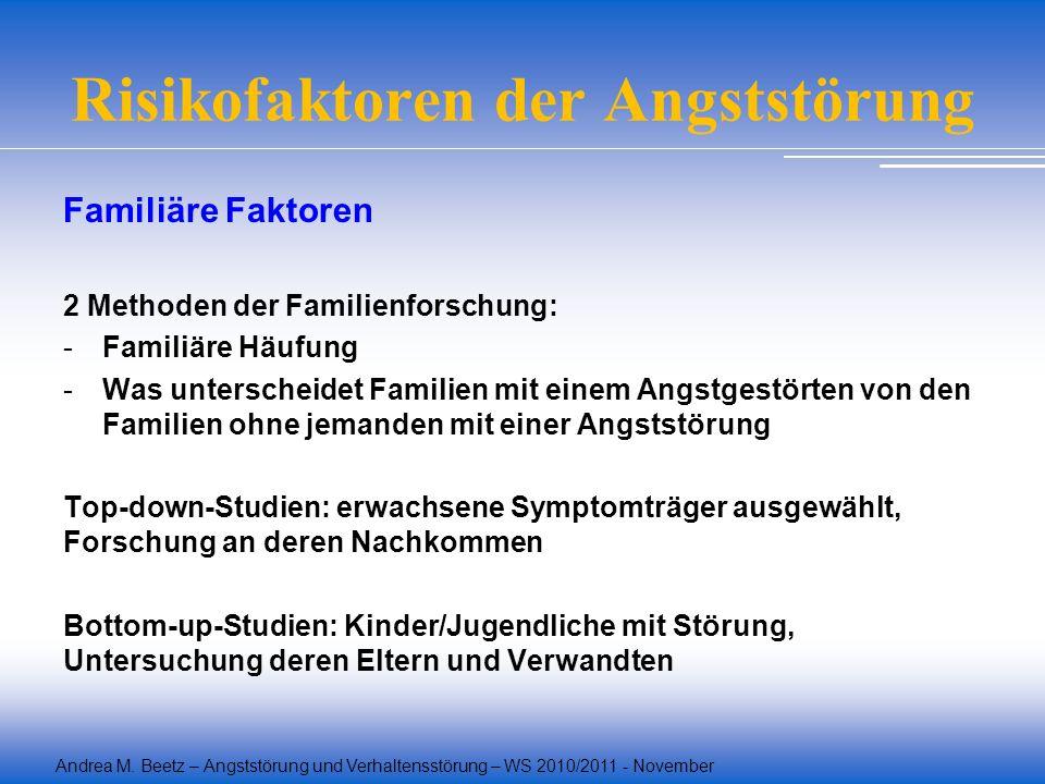 Andrea M. Beetz – Angststörung und Verhaltensstörung – WS 2010/2011 - November Risikofaktoren der Angststörung Familiäre Faktoren 2 Methoden der Famil