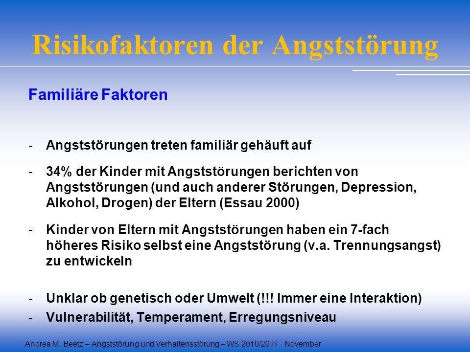 Andrea M. Beetz – Angststörung und Verhaltensstörung – WS 2010/2011 - November Risikofaktoren der Angststörung Familiäre Faktoren -Angststörungen tret