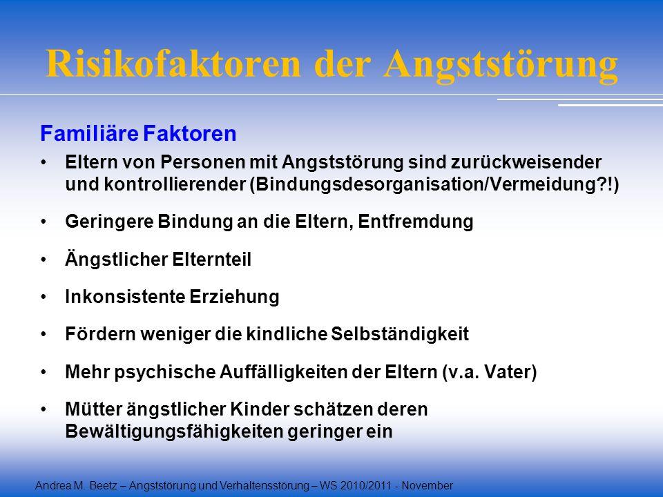 Andrea M. Beetz – Angststörung und Verhaltensstörung – WS 2010/2011 - November Risikofaktoren der Angststörung Familiäre Faktoren Eltern von Personen